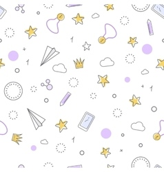 Successful icons seamless pattern favourite items vector
