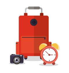 Suitcase photo camera clock vacation vector