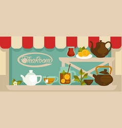 tea room showcase with shelves and pots on them vector image
