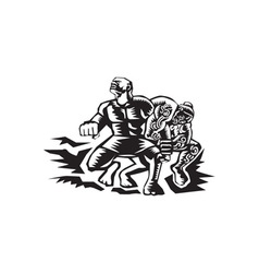 Tiitii wrestling god of earthquake woodcut vector