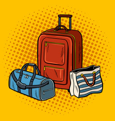 travel bags pop art vector image vector image