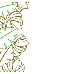 Tropical leaves palm tree border decoration vector