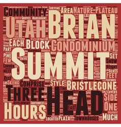 Summit at brian head in utah text background vector