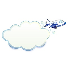 An airplane passing through the cloud vector image