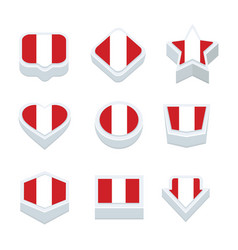Peru flags icons and button set nine styles vector