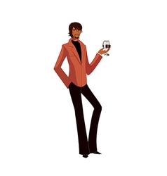Portrait of man holding wineglass vector