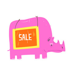 Cute cartoon pink rhinoceros with sale sign board vector