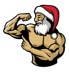 Muscle santa claus show his body vector