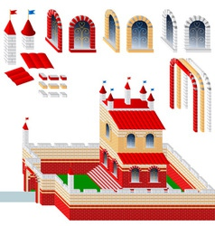 Set of bricks and palace vector