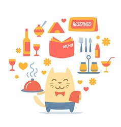 Character waiter uniform and bow tie colorful flat vector