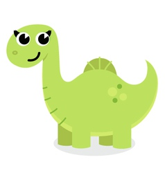 Green cute cartoon dino isolated on white vector