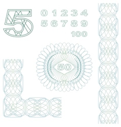 Decorative elements and numbers vector