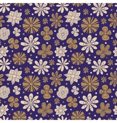 Seamless texture of painted flowers on a purple vector