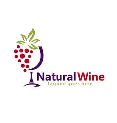 Natural wine abstract logo vector
