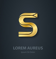 Elegant gold font letter s template for company vector