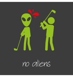 Killing alien golf sport design banner and vector