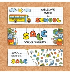 Doodle back to school sale banners vector
