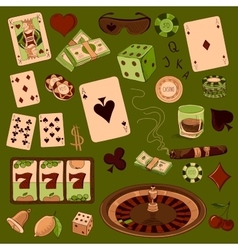 Hand drawn casino icons set vector
