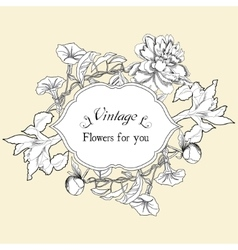 Vintage card with bindweed and flowers vector