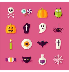 Flat halloween trick or treat objects set with vector