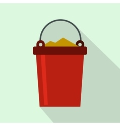 Bucket full of garbage icon flat style vector