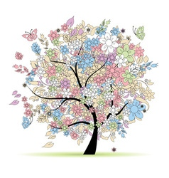 Floral tree in pastel colors vector