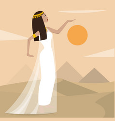ancient cartoon egiptian woman vector image