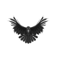 Black raven isolated on white background vector