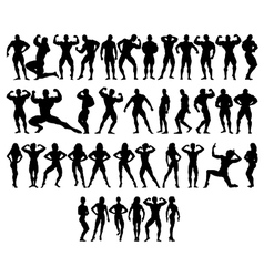 Bodybuilder silhouettes vector image vector image