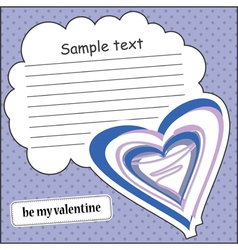 Card with heart and message cloud vector image vector image