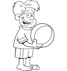 Cartoon boy holding a beach ball vector image