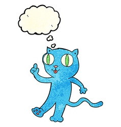 cartoon cat with idea with thought bubble vector image