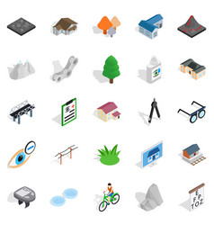 city life icons set isometric style vector image vector image