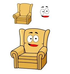 Comfortable cartoon yellow upholstered armchair vector image vector image