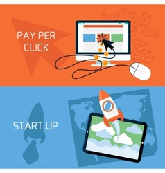 Concept of start up pay per click web advertising vector