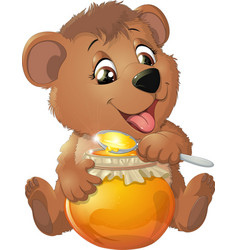 Cute bear with honey vector