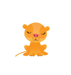 Cute lion cartoon on white background vector