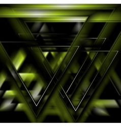 Dark green tech futuristic triangles background vector image