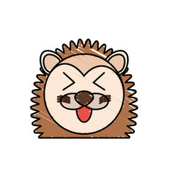 drawing porcupine face animal vector image