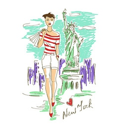 Fashion girl in New York vector image