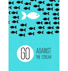 fish swims against the stream Creative blue flat vector image vector image