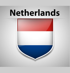Flag of netherlands on badge vector