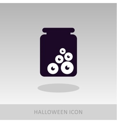 Halloween eye glass jar icon vector