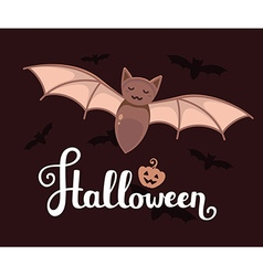 Halloween with big bat text pumpkin and fl vector