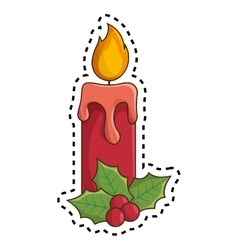 Happy merry christmas candle card vector