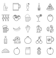 Junket icons set outline style vector