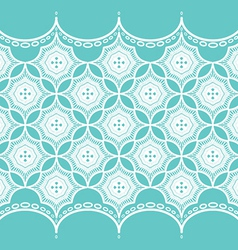 Lace pattern on turquoise background vector