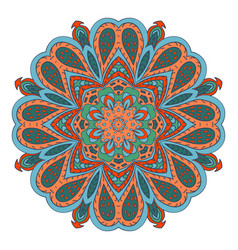 mandala doodle drawing colorful floral round vector image vector image