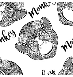 Monkey head seamless pattern with text vector image vector image