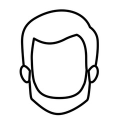 Monochrome contour of faceless man with short hair vector
